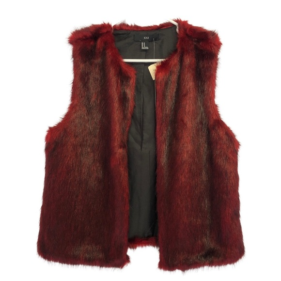 NWT Forever 21 Red Faux Fur Vest